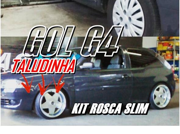 Gol G4 rebaixado com Kit Suspensão de Rosca Slim e Rodas Taludas